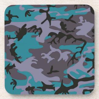 Blue grey camouflage design beverage coasters