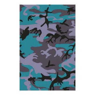 Blue grey camouflage design customized stationery