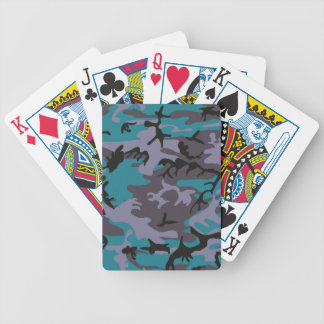 Blue grey camouflage design playing cards