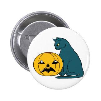 blue grey cat looking at pumpkin button