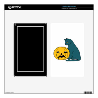 blue grey cat looking at pumpkin decals for kindle fire