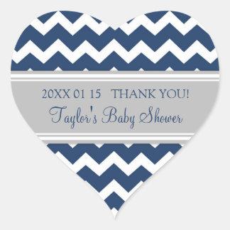 Blue Grey Chevron Baby Shower Favor Stickers