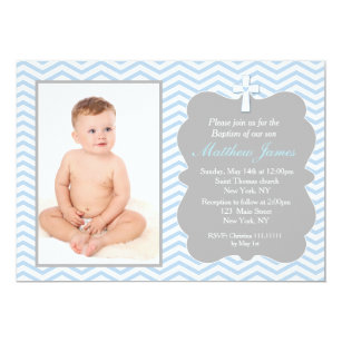 chevron baptism christening invitations zazzle