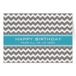 Blue Grey Chevron Business From Group Birthday Greeting Card