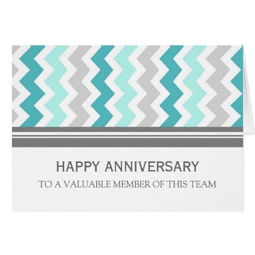 Blue Grey Chevron Employee Anniversary Card
