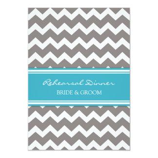 Blue Grey Chevron Rehearsal Dinner Party 5x7 Paper Invitation Card