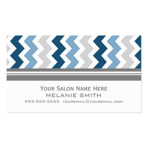 Blue Grey Chevron Salon Appointment Cards Business Card Template