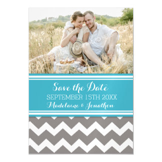 Blue Grey Chevron Save The Date Magnetic Card