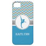 Blue / Grey Chevron Stripes Gymnastics w/ Monogram iPhone 5 Cases