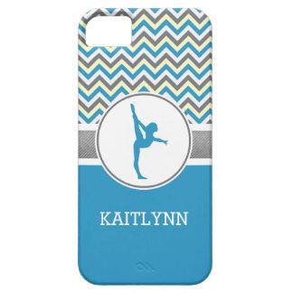 Blue / Grey Chevron Stripes Gymnastics w/ Monogram iPhone SE/5/5s Case