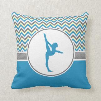 Blue / Grey Chevron Stripes Gymnastics w/ Monogram Throw Pillow