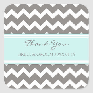 Blue Grey Chevron Thank You Wedding Favor Tags Square Sticker