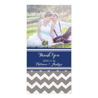 Blue Grey Chevron Thank You Wedding Photo Cards