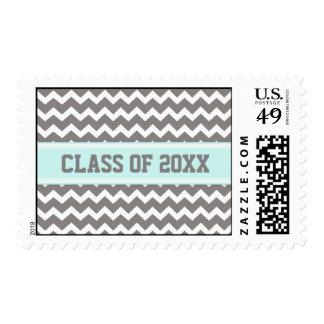Blue Grey Chevrons Graduation Custom Year Stamps