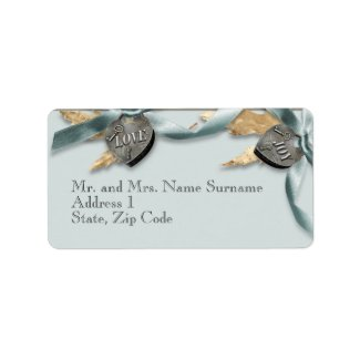 Blue grey country heart wedding address custom address label