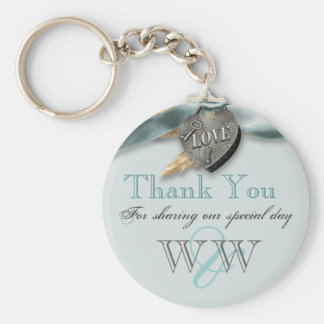 Blue grey country heart wedding key chain