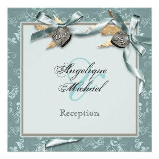 Blue grey country heart wedding RECEPTION Invitation