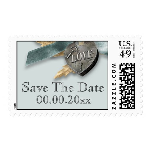 Blue grey country heart wedding stamps