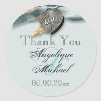 Blue grey country heart wedding round stickers