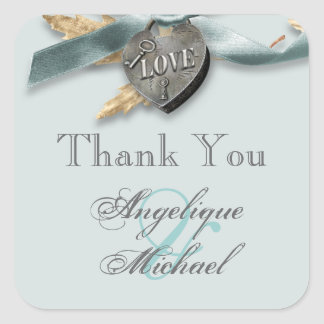 Blue grey country heart wedding stickers