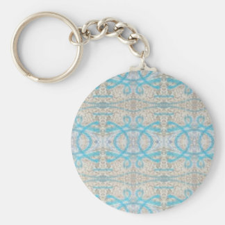 Blue Grey Curly Decorative Graffiti Wall Pattern Keychain