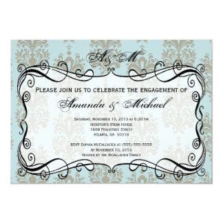 Blue & Grey Damask Engagement Party Invitation