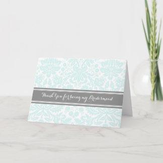 Blue Grey Damask Thank You Bridesmaid Card