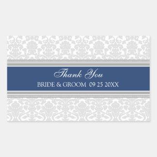 Blue Grey Damask Thank You Wedding Favor Tags Rectangular Sticker