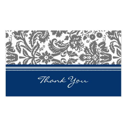 Blue Grey Damask Wedding Favor Tags Business Cards