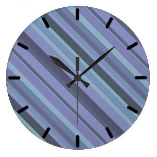 Blue-grey diagonal stripes large clock