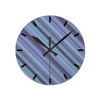 Blue-grey diagonal stripes round clock