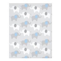 Blue Grey Elephant Baby Scrapbook Paper