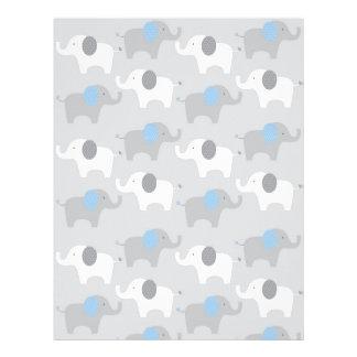 Blue Grey Elephant Baby Scrapbook Paper Letterhead