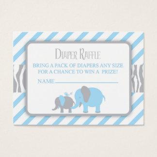 Blue & Grey Elephant Diaper Raffle Ticket