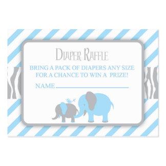 Blue & Grey Elephant Diaper Raffle Ticket Large Business Card