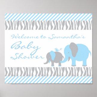 Blue & Grey Elephant Welcome Door Sign Poster