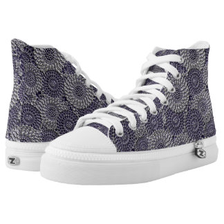 Blue/Grey Embossed Flower Pattern High Tops