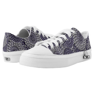 Blue/Grey Embossed Flower Pattern Low Top