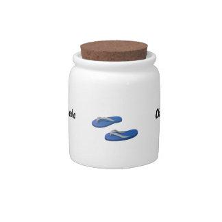 blue grey flip flops offset candy jars