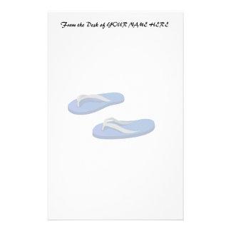 blue grey flip flops offset stationery