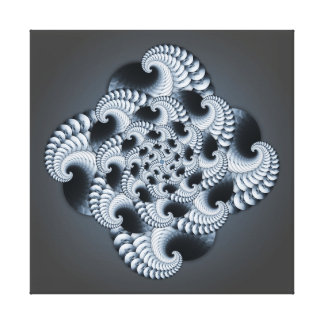 Blue Grey Fractal Design Gallery Wrapped Canvas