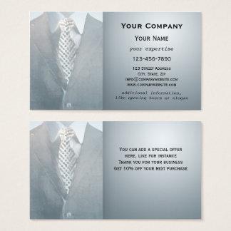 Blue Grey Gentleman Suit Watercolor Business Card