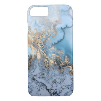 Blue Grey Gold Modern Marble Texture Barely There iPhone 8/7 Case