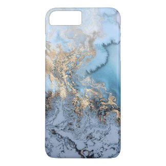 Blue Grey Gold Modern Marble Texture Barely There iPhone 8 Plus/7 Plus Case