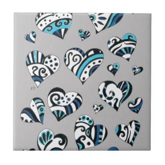 Blue grey hearts scribble ceramic tile