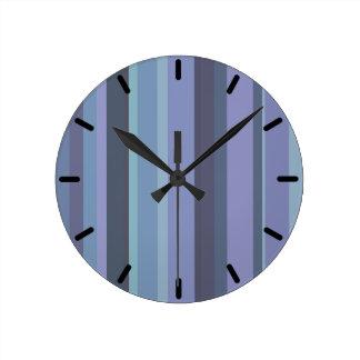 Blue-grey horizontal stripes round clock