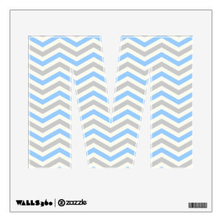 Blue, grey, ivory chevron pattern letter M Wall Decal