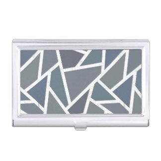 Blue-grey mosaic pattern business card case
