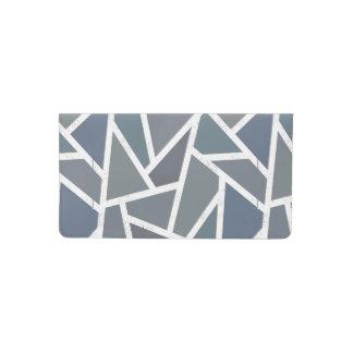 Blue-grey mosaic pattern checkbook cover