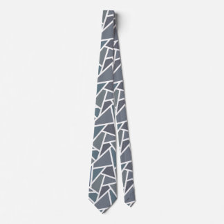 Blue-grey mosaic pattern neck tie